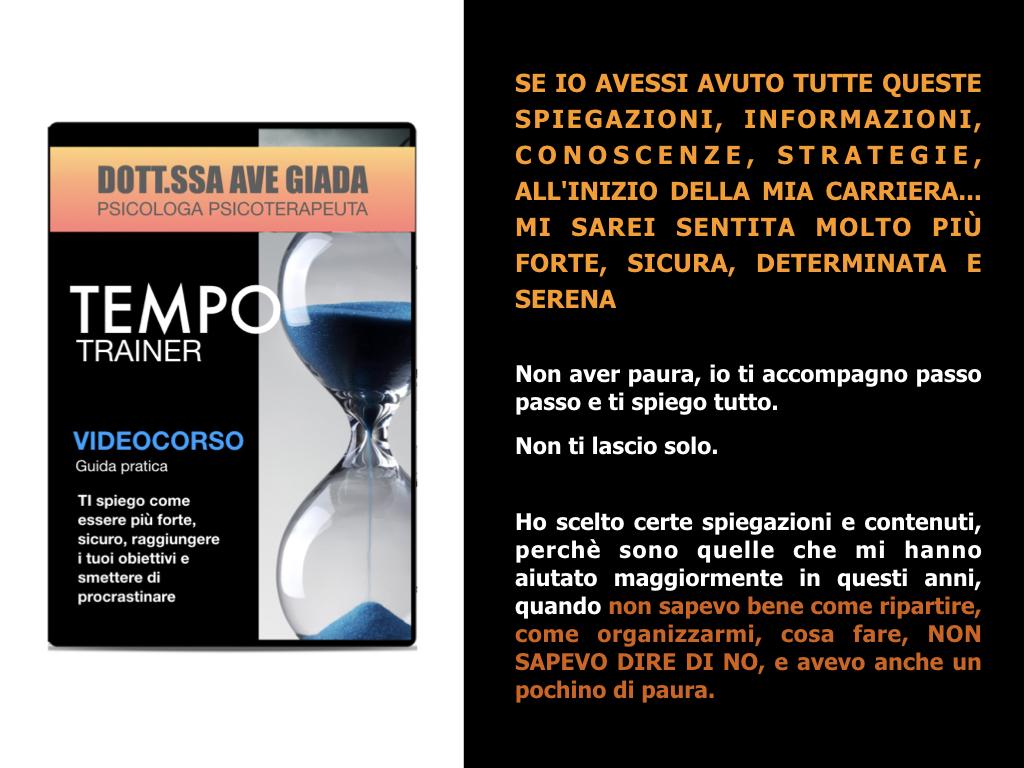 Videocorso online gestione del tempo. Dott.ssa Ave Giada. Video gratis in cui imparerai strategie e spiegazioni per la gestione del tempo